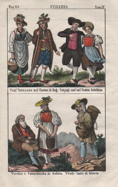1840 - Zug Solothurn Glarus Schaffhausen Schweiz costumes Trachten Lithographie | eBay