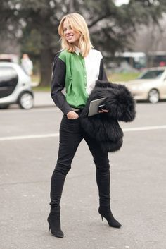 Très Chic! The Best Street Style at Paris Fashion Week: Caroline Issa perked up her Winter look with bright statement jewels and embroidered heels.  Source: Le 21ème | Adam Katz Sinding  : Elin Kling added a colorblocked button-down to basic black.  Source: Le 21ème | Adam Katz Sinding