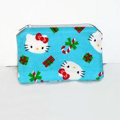 Zipper coin purse coin pouch fabric coin wallet blue Hello Kitty Christmas fabric coin wallet card holder change purse zipper gift idea