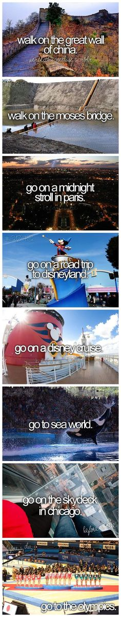 I've been on road trip to Disneyland, a Disney Cruise, and to the sky deck in Chicago (very cool). Not sure I care to go to the Olympics, but I'd love to see some gymnastics and ice skating!
