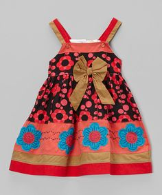 the Silly Sissy Red & Black Floral Bow Dress - Infant, Toddler & Girls | zulily