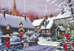 The Macneil Studio Solid-Faced Canvas Print Wall Art Print entitled Village Old Time Christmas, Christmas Scenes, Christmas Villages, Merry Little Christmas, Christmas Past, Vintage Christmas Cards, Winter Christmas, All Things Christmas, Illustration Noel