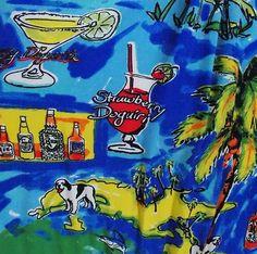 Big Dogs Cocktails Palm Trees Beach Happy Hour Vacation Aloha Hawaiian Shirt XL