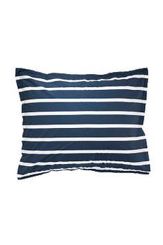 Ellos Home Blå Pudebetræk Lykke Stripe af bomuldspercale