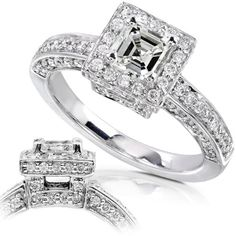 1.00ctw 14k White Gold Asscher Cut Diamond Engagement Ring - Size 5