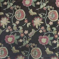 A moody floral pattern on an inky black background is featured on this poly-and-viscose. Fabric Shop, Beautiful Patterns, Black Backgrounds, Tapestry, Floral, Collections, Home Decor, Ideas, Hanging Tapestry
