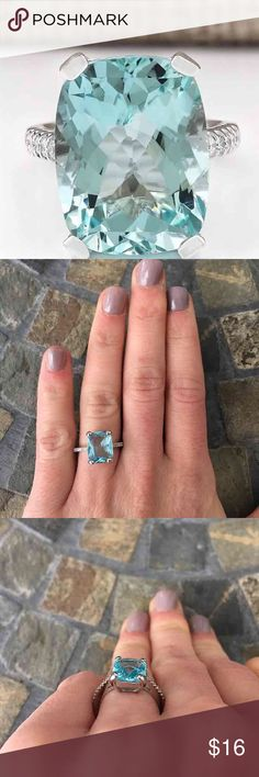 Emerald Aquamarine Silver Engagement Ring BEAUTIFUL stone!  Large emerald cut aquamarine center stone in a prongs setting Thin silver plated band with stones on either side FIRM PRICE/NO TRADES❗ Jewelry Rings