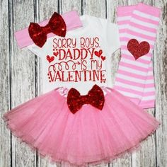 Red & Pink Daddy's Valentine Glitter Tutu Outfit Set