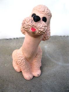 Vintage Chalkware Pink Poodle Chalkware by PaperWoodVintage, $9.00