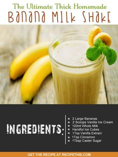 Welcome to my ultimate thick homemade banana milk shake recipe. Okay so I am going to be honest now and say this is far from healthy. After all… The Ultimate Thick Homemade Banana Milk Shake - Ice Cream Maker Recipes Banana Shake Recipe, Banana Milkshake, Banana Recipes, Homemade Milkshake, Healthy Milkshake, Blender Recipes, Shake Recipes, Milk Recipes, Milk Shakes