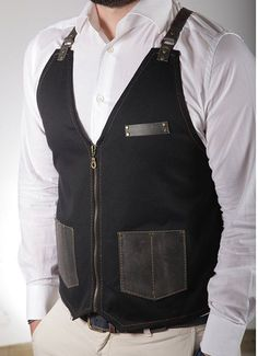 Stylist vest with leather pockets, premium quality, with your name or logo, perfect fashionable salon gift for hairdresser - PAUL / MARILYN Barber Apron, Leather Suspenders, Leather Pieces, Khaki Green, Barber Shop, Hairdresser, Work Wear, Stylists, Mens Fashion