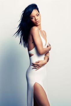 Rihanna-Harper's-Bazaar-August-2012  Simple white dress.