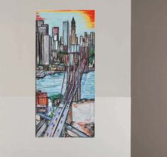 tableau peinture originale urbaine pastel New York Brooklyn bridge par Celinemodernart sur Etsy