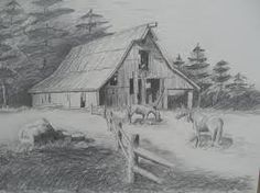 How To Draw Barn With Pencil