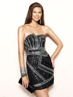 Short Black Sequined Gown