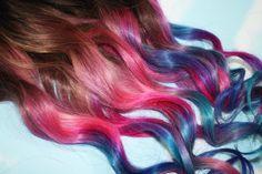 Tie Dye Tip Extensions, Dark Brown/Black, 22 inches long, Clip In Hair Extensions, Hippie Hair, Dip Dyed Tips. $85.00, via Etsy.