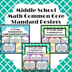 This is a packet of printable middle school math common core standard posters - great for hanging around school hallways or classrooms! Includes 6th grade, 7th grade, and 8th grade Standards!
