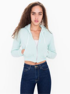 Cropped Flex Fleece Zip Hoodie American Apparel $45