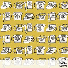 """Title: """"Vintage Rotary Telephone"""" Color: Mustard, Champagne, Black Collection: """"Vintage Home"""" Status: Fabrics available here."""