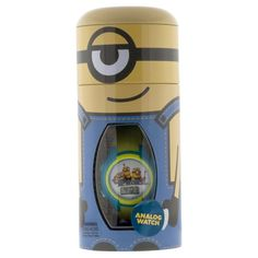 Kid's Minions Watch with Cylinder Tin Coin Bank- Multicolor, Size: not applicable, Yellow
