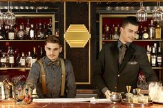 Preparing you drink. The bar manager and barback in their Studio 104 uniform.