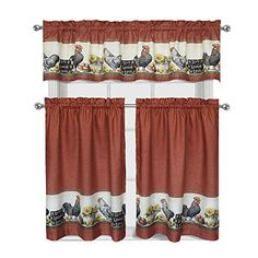 "Regal Home Collections Roosters & Sunflowers ""Live~Laugh~Love"" Complete 3 Pc. Kitchen Curtain Tier & Valance Set"