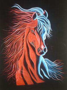 un caballo pana y pirograbado