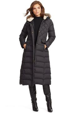 Lauren Ralph Lauren Lauren Ralph Lauren Faux Fur Trim Hooded Long Down & Feather Fill Coat available at #Nordstrom