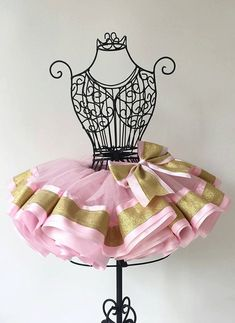 pink and gold birthday tutu outfit first by OutoftheBoxLocks
