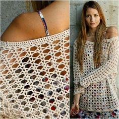 Fenomenal beautiful and effective covering crochet sweater. More free crochet patterns? Pull Crochet, Crochet Cardigan, Diy Crochet, Crochet Style, Crochet Sweaters, Crochet Tops, Tunic Sweater, Crochet Ideas, Crochet Motifs