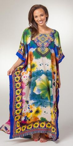 ed692886c4 One Size Caftans - Misses Polyester Long Length Caftan in Fresco Blue  Caftans, Fresco,