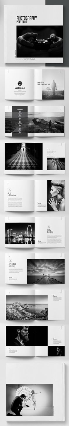 Photography Square Portfolio Template #brochuretemplate #catalogdesign #booklet #annualreport #printdesign #psdtemplate