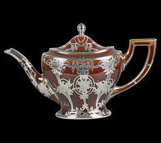 Art Nouveau Lenox Treacle Glazed Silver Overlay Teapot Early 20th ...