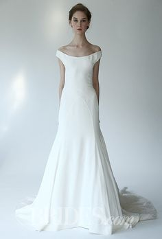 "Brides.com: Lela Rose - Fall 2014. Style B07125, ""The Palace"" boat-neck silk crepe A-line wedding dress with embroidered train, Lela Rose"