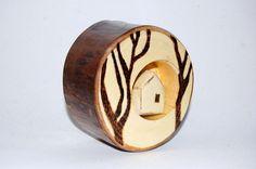 Wood Sculpture Cabin, Winter in the Woods, Aspen Tree Ring, Forest, Original Sculpture, Wedding Centerpiece, Keepsake Gift