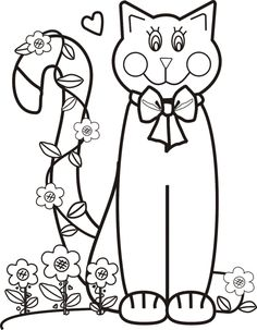 Cat with Flowers Coloring Page | Greatest Coloring Book. Colour it, sew it, trace it, etc. See my board for more.