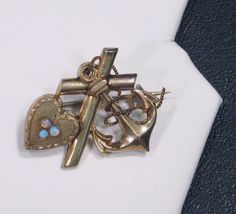 Antique Victorian Gold Filled Anchor Heart & Cross Motif with Opal Brooch Pin Victorian Gold, Victorian Era, Anchor Heart, Brooch Pin, Vintage Antiques, Antique Jewelry, Opal, Brooch, Old Jewelry