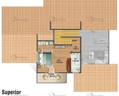 Planta de sobrado com telhado aparente - Cód. 50 | Só Projetos Floor Plans, Villas, Duplex House Plans, House 2, Beach Cottages, Bedrooms, Wood, Amor, Cottage