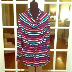 CALVIN  KLEIN TOP NEW WITH TAGS CALVIN KLEIN TOP  WITH MULTI COLORED STRIPES AND LOOSE TIE WAIST, Calvin Klein Tops
