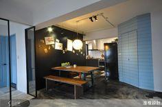 餐廳主牆採用可塗鴉的黑板漆,賦予空間更多自由向度。