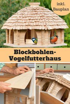 Dieses Blockbohlen-Futterhaus ist eine handwerkliche Meisterleistung, über die sich nicht nur die Vögel freuen!