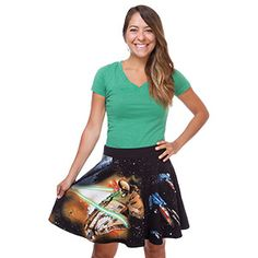 The design on this skirt is sort of a who's-who of the Star Wars spaceship universe. It has X-Wings, the Millennium Falcon, a standard TIE fighter and the TIE Advanced x1, plus the Death Star as a bonus.