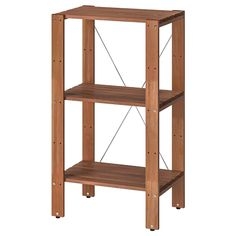 TORDH Shelving unit, outdoor, brown stained - Find it here - IKEA Outdoor Shelves, Outdoor Storage, Storage Benches, Ikea Regal, Wood Supply, Frame Shelf, Small Terrace, Ikea Family, Acacia Wood