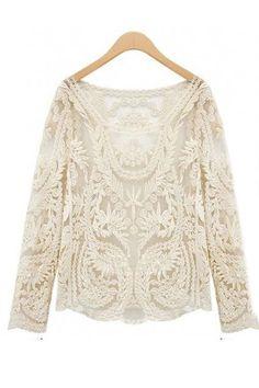 470999b1656ee6 Cream Crochet Lace Tunic. Crochet BlouseCrochet T ShirtsCrochet TopsFloral  ...