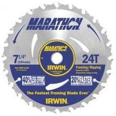"""Irwin 24030 7-1/4"""""""" 24T Carbide Marathon Framing/Ripping Circular Saw Blade, 10-PK"""