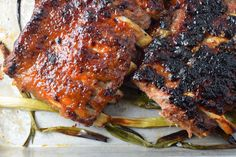 Miso Maple Ribs with Roasted Scallions — Central Street Kitchen Recipe Filing, Smitten Kitchen, White Meat, Rice Vinegar, Barbecue Sauce, Cooking Oil, Serving Platters, Tandoori Chicken, Ribs