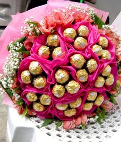 chocolate #candy #bouquet with ferrero rocher + flowers | romantic #gift