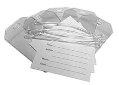 Clear Vinyl Luggage Tags with Loops  Name Cards  Set of 100 >>> Click image for more details.Note:It is affiliate link to Amazon.