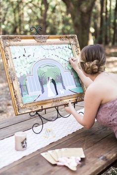 Custom Guest Book Alternative Featuring A Personalized Savannah Ga Themed Backdrop And Portrait Of