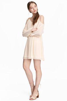 Шифоновое платье - Натуральный белый - Женщины   H&M RU 1